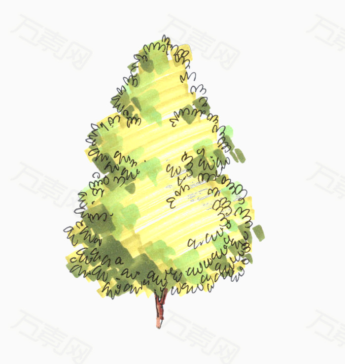 立面手绘景观树