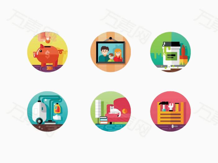 圆形生活家庭图标素材