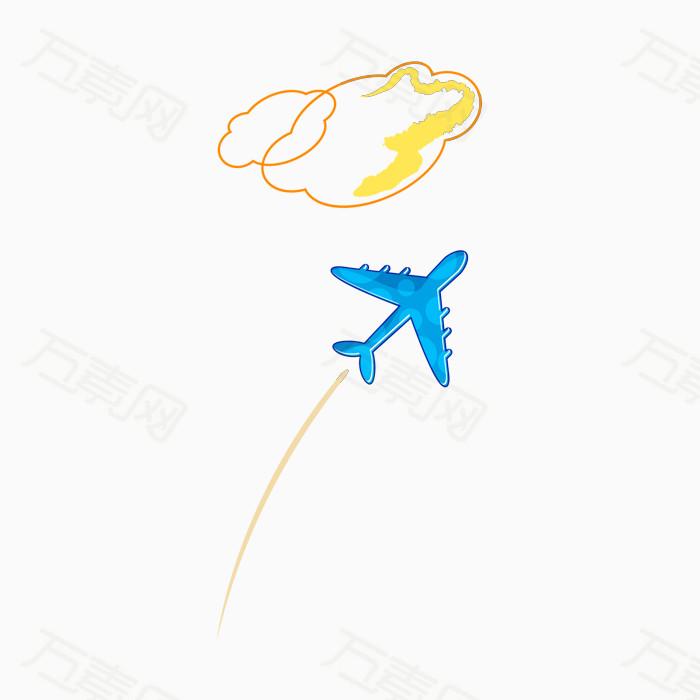 卡通手绘 飞机 飞行 云朵