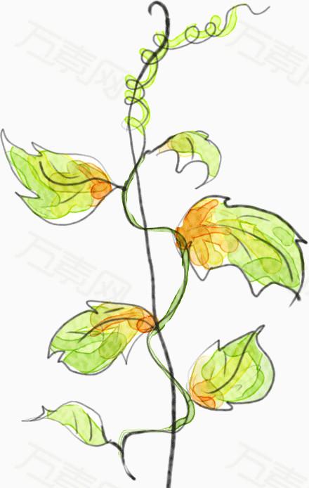 万素网提供枝条缠绕的小树苗png设计素材,背景素材图片