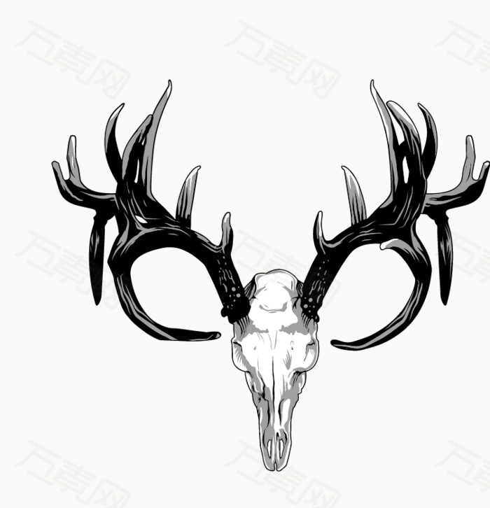 万素网 素材分类 黑白色细腻手绘鹿头