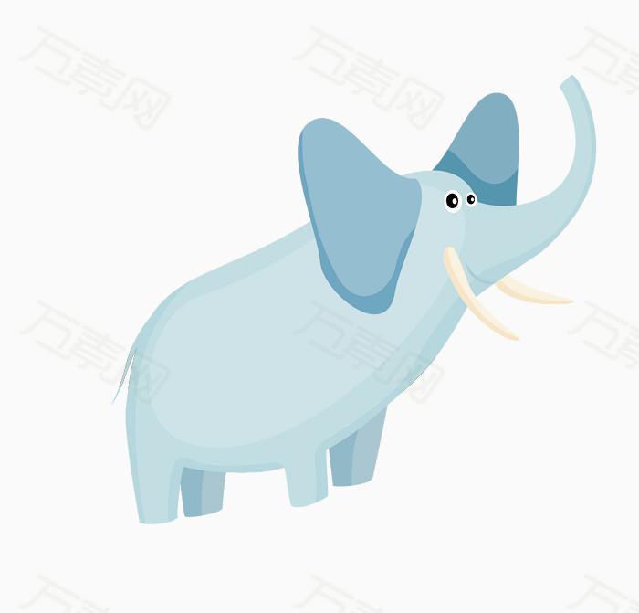 可爱 卡通 动物 矢量 大象 青色