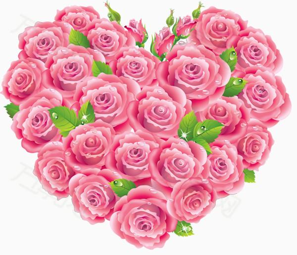 万素网提供粉色玫瑰花心形图案png设计素材,背景素材图片