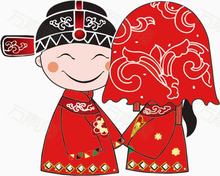 中式婚礼卡通手绘装饰元素