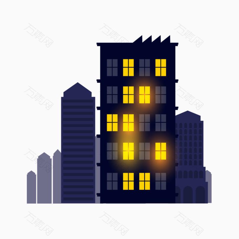 卡通夜景城市建筑楼房