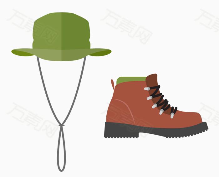 卡通   绿色帽子  红色靴子  登山 游玩必备