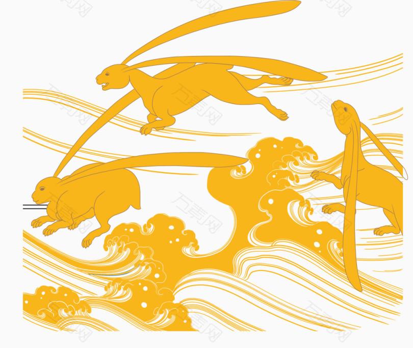 浮世绘兔子图案免费下载