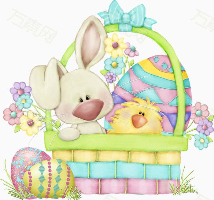 卡通  篮子  动物  兔子  小鸡   卡通 篮子 动物 兔子 小鸡 蛋
