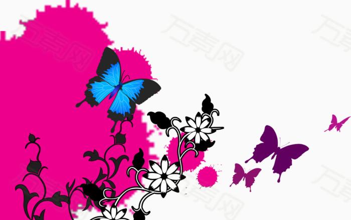 手绘彩色蝴蝶花朵海报