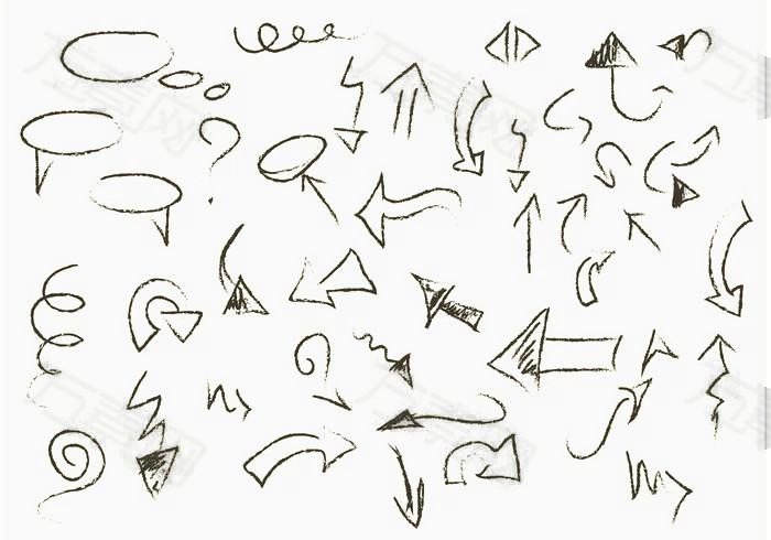手绘可爱风对话框箭头草稿