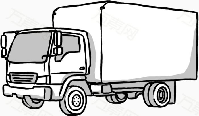货车简笔画矢量图