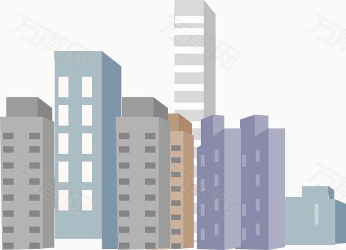 手绘高楼大厦矢量图