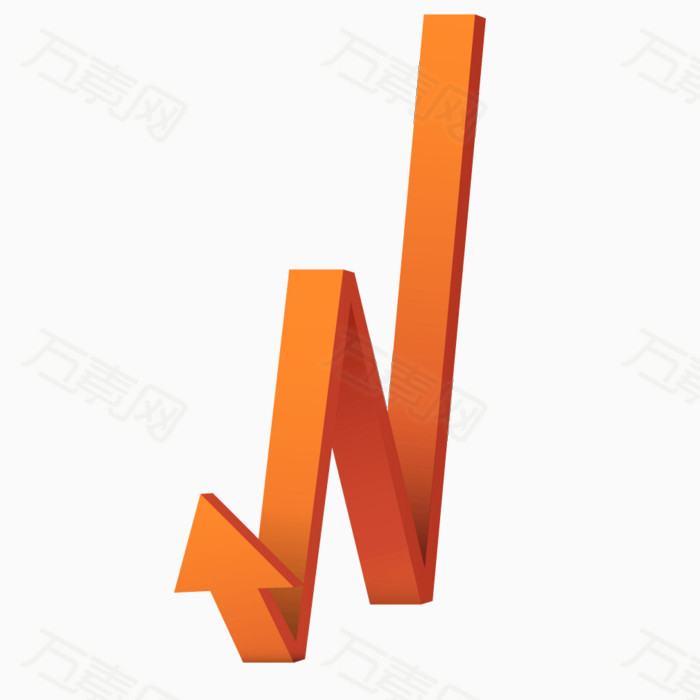 万素网提供橘黄色立体渐变箭头png设计素材,背景素材