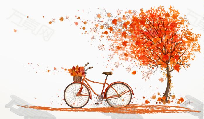 秋风中枫树下的橙色自行车图片免费下载_卡通手绘_万图片
