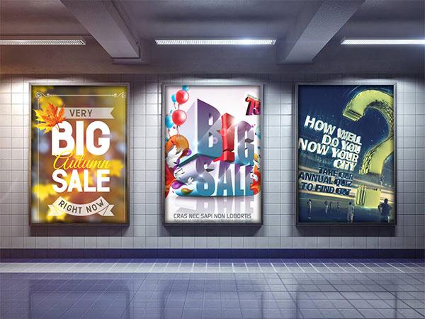 地铁海报展板样机