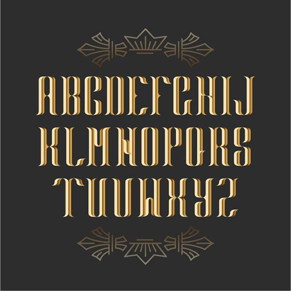 金色复古字母