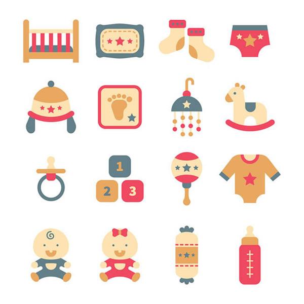 婴儿用品物品_矢量素材_600*600p...