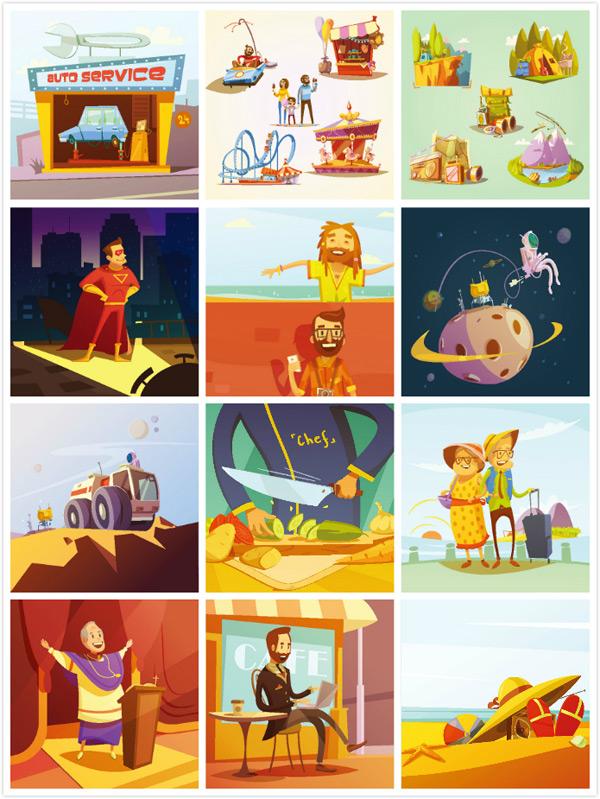 卡通人物创意插画