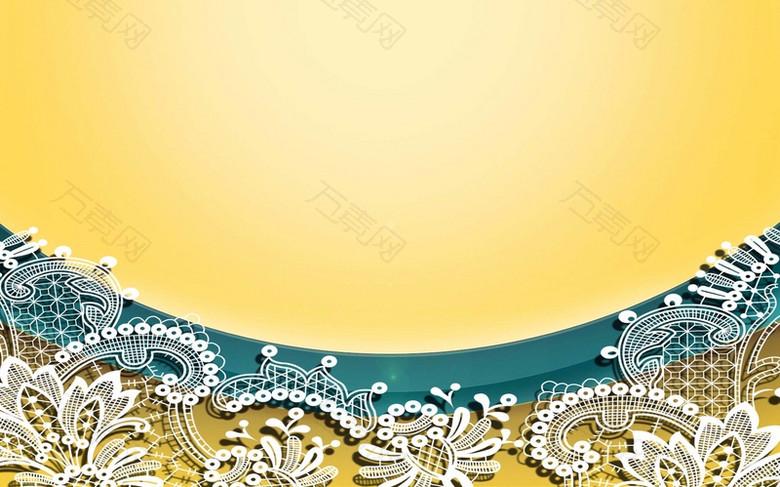 黄色质感蕾丝边海报背景模板