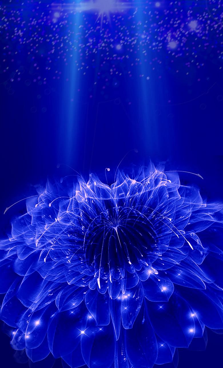 蓝色水晶花朵背景素材