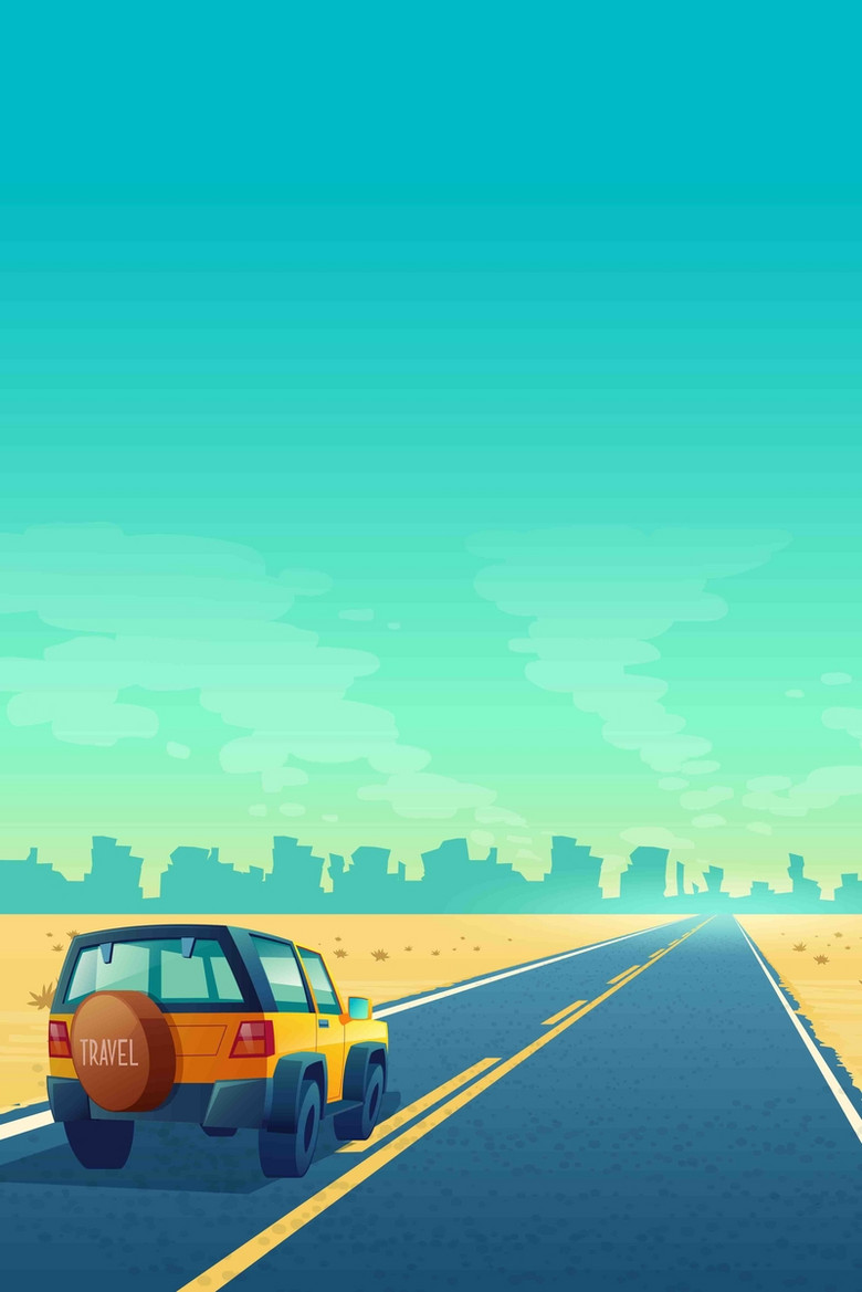 简约卡通公路汽车都市假期旅行出游背景