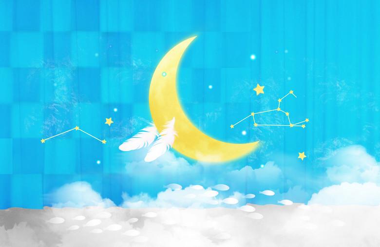 浪漫梦幻月亮儿童背景素材