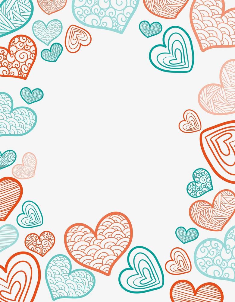 矢量创意涂鸦心形边框背景素材