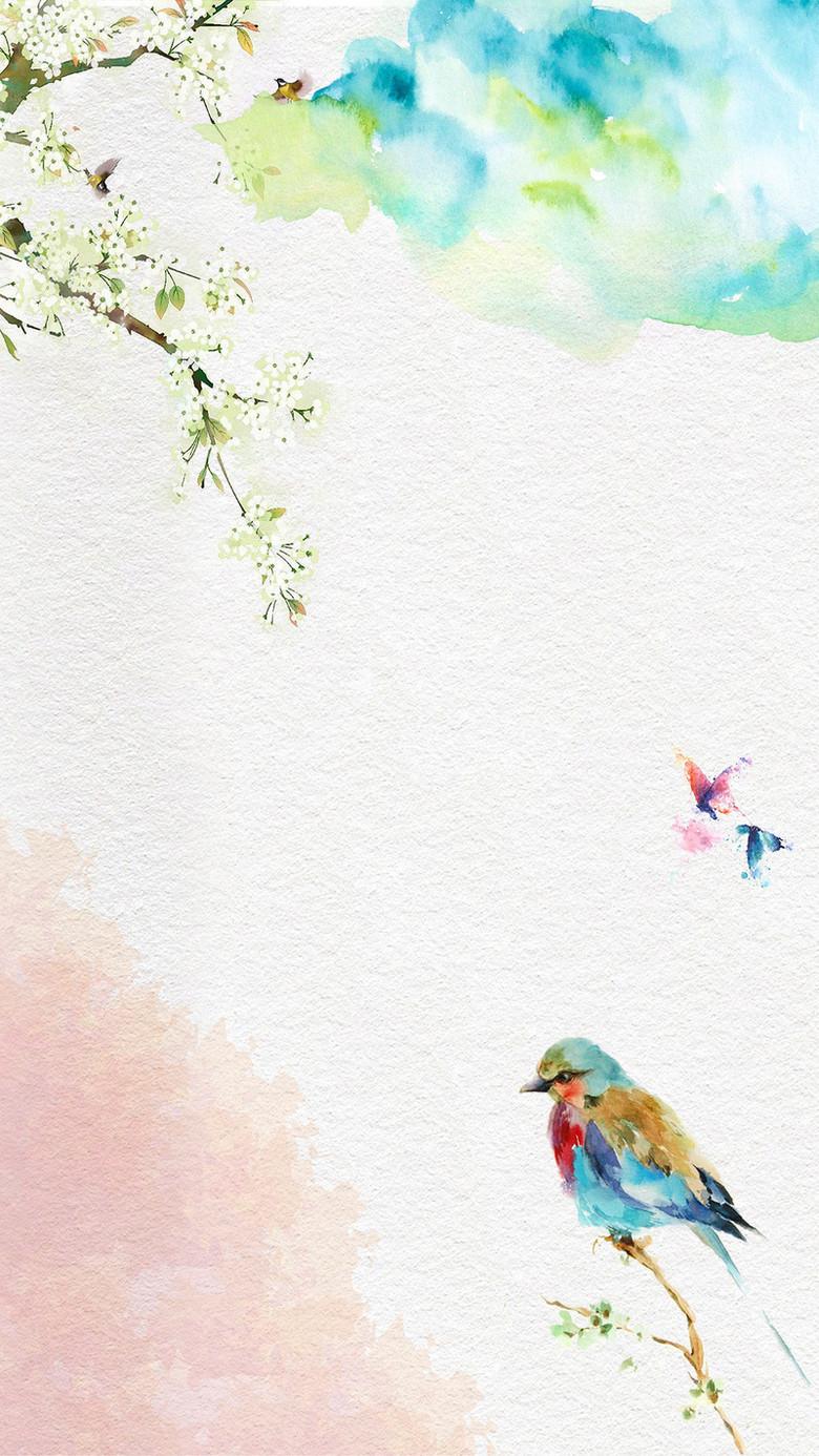 蓝色手绘水彩质感彩色鸟儿树枝白色花卉