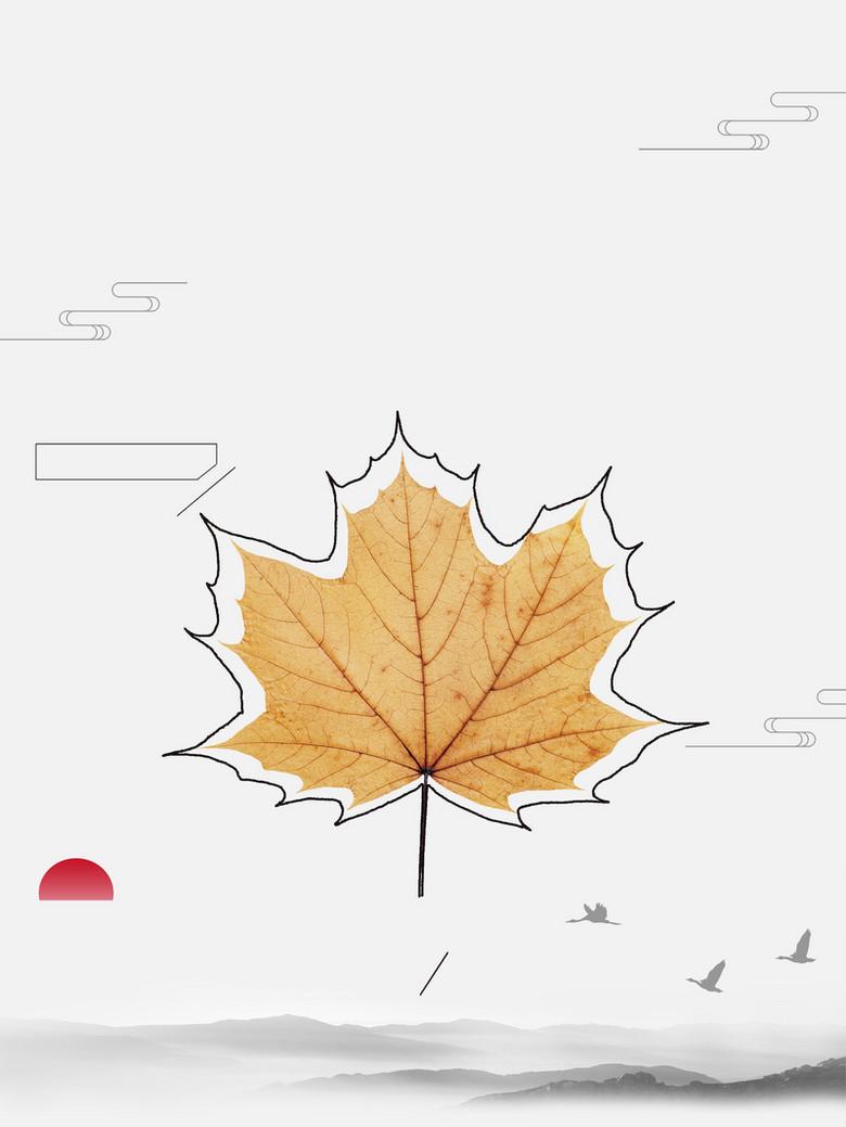 枫叶简约立秋树叶黄了节气海报背景素材