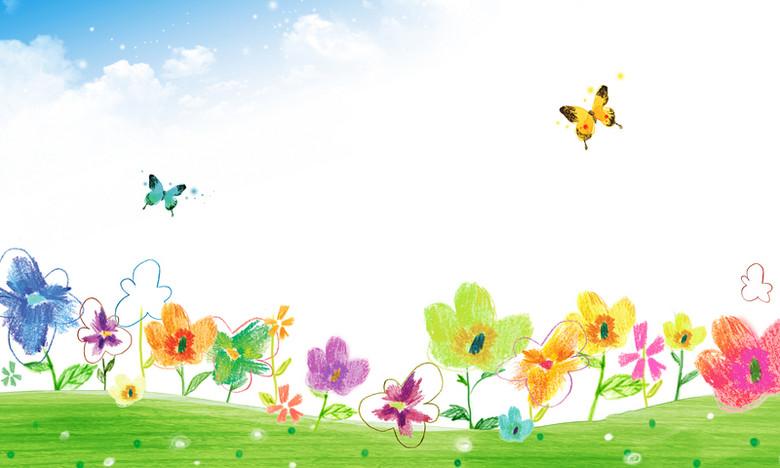 卡通蜡笔画草地花朵蝴蝶清新海报背景