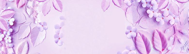 紫色立体花简约背景