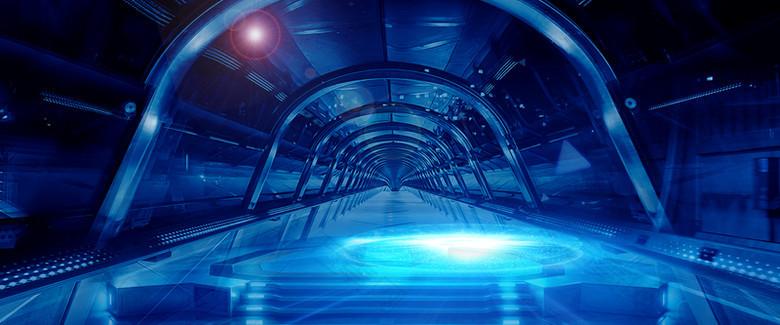 科技蓝色大气隧道背景