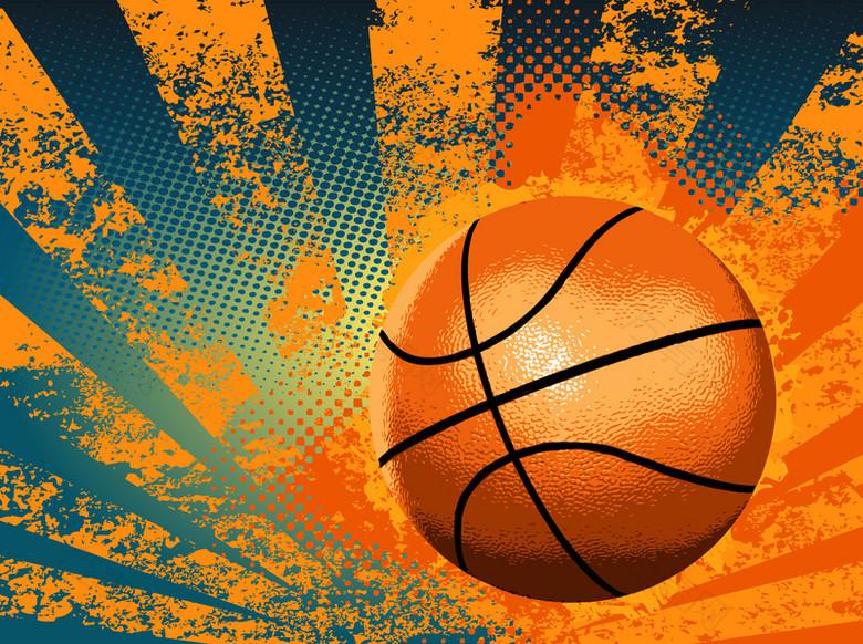 欧式篮球主题海报画册手绘矢量背景素材