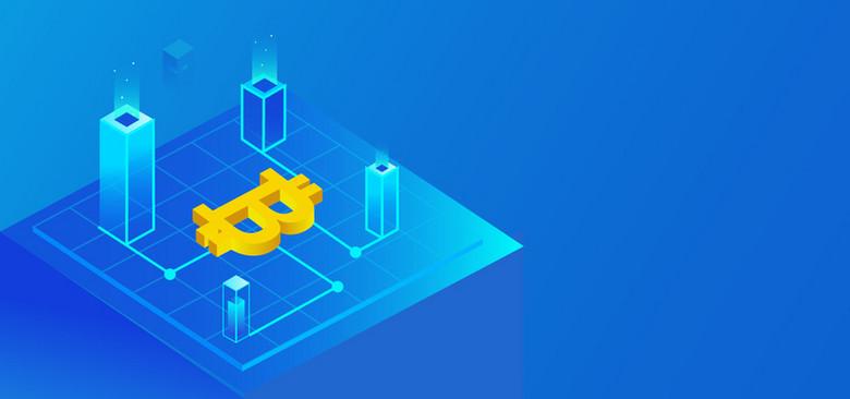 2.5D蓝色渐变区块链比特币金融banner