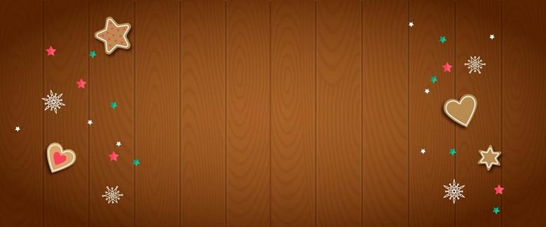 木板棕黄色背景卡通图标淘宝banner