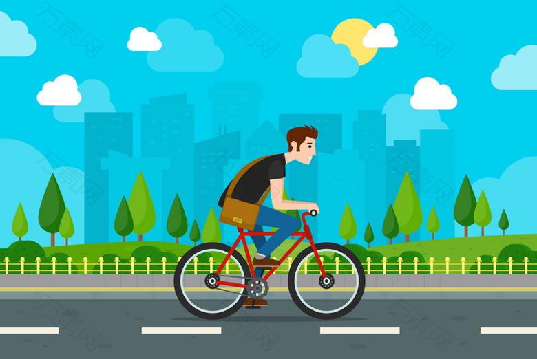 扁平化自行车海报