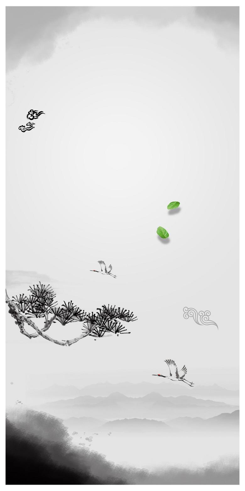 中国风水墨画传统文化宣传海报背景素材