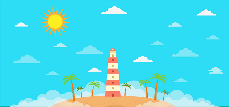 初夏阳光旅行卡通彩色海报背景