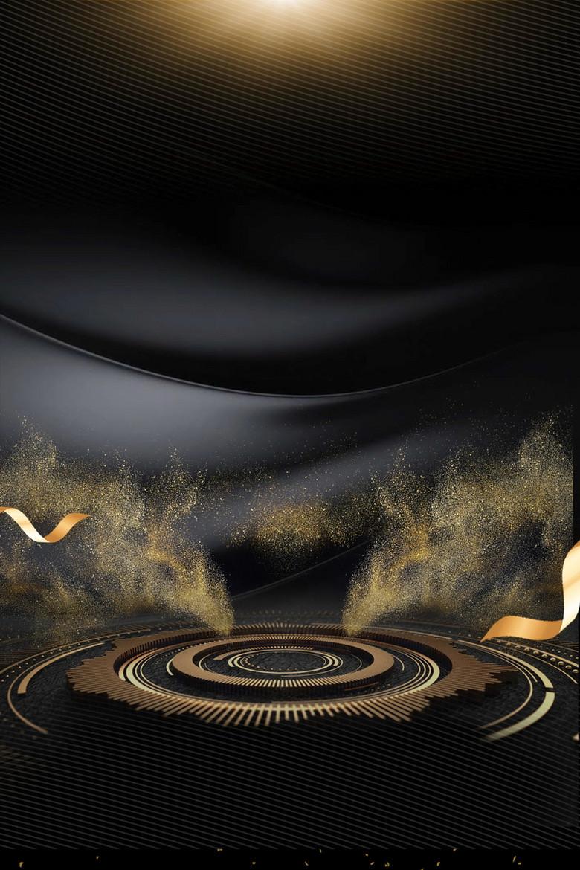 黑金大气华丽展板背景模板