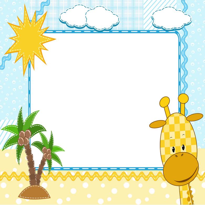 卡通小鹿沙滩相框背景素材