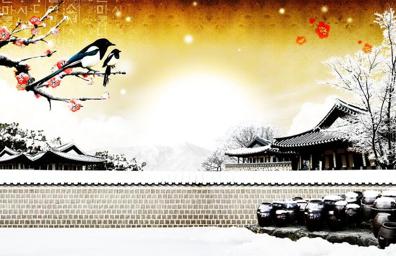 冬季雪花美景广告背景