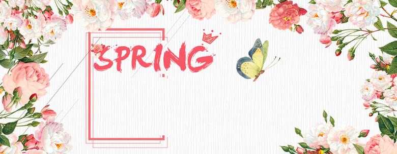 春天花瓣手绘白色banner背景