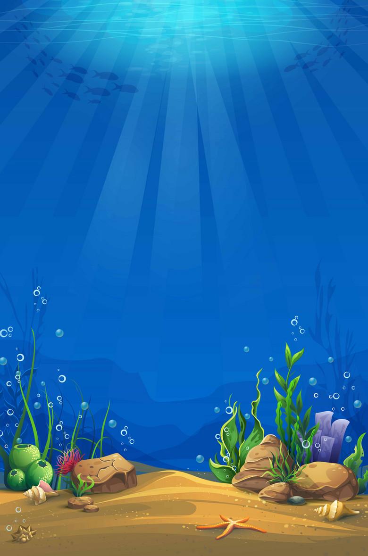 清新蓝色海底阳光照射背景