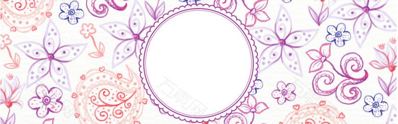 紫色手绘花瓣背景