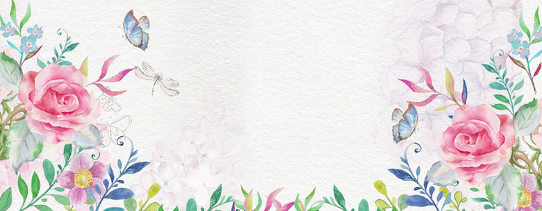 春天清新手绘白色海报背景