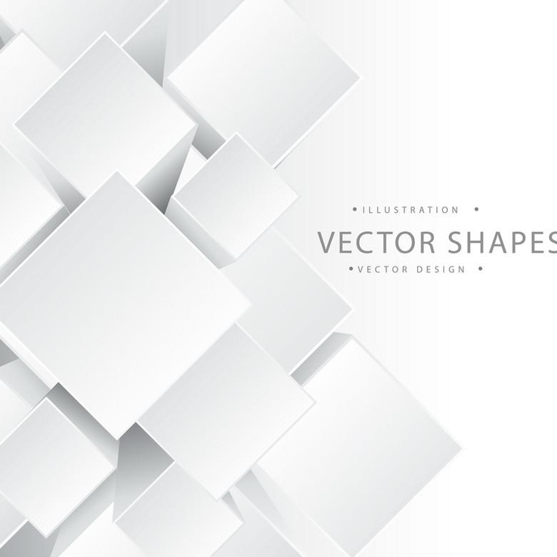 立体几何方块白色简约背景素材