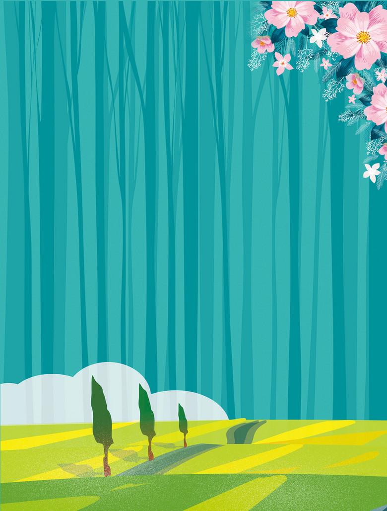 森林树林扁平樱花大树草坪背景素材
