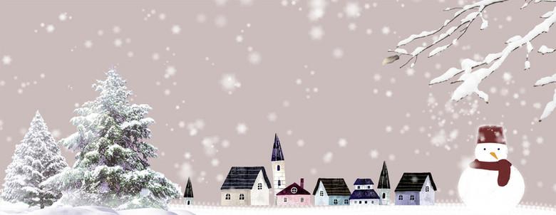 大雪堆雪人卡通景色棕色banner