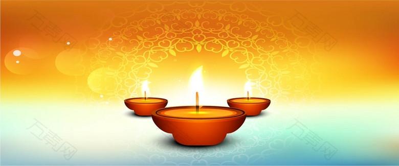 橘黄蓝色渐变底纹背景梦幻蜡烛淘宝背景