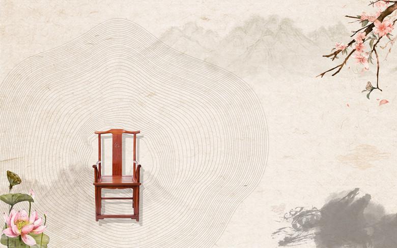中国风红木家具海报背景